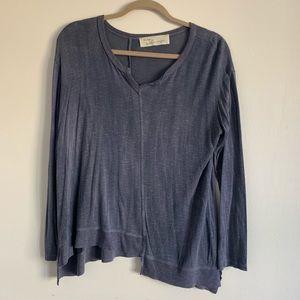 Asymmetrical Blue Long Sleeve Top